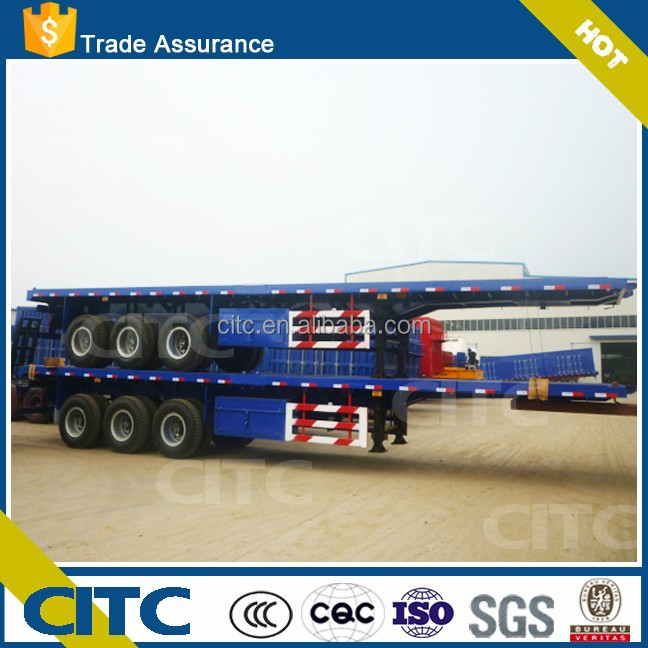 Factory 3 axles 40ft Flatbed Platform Container carrier Semi Trailer / Prime mover for sale