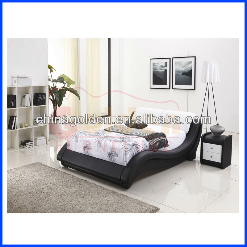 G967 Latest Leather Bed Design Indian Wood Double Bed Designs