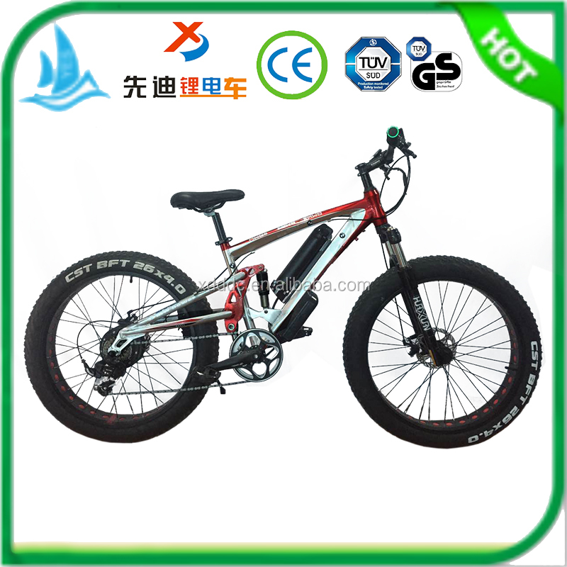 Manufacturer selling 26*4.0 inch 250-500W motor fat tire three suspensions snow electric bike/ electric mountain bicycle