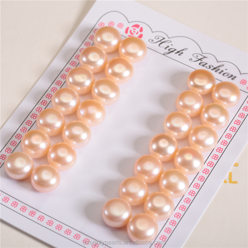 9-10mm AAA large size best quality loose button shape real cultured freshwater pearl half drilled one hole