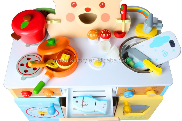 Kids play house wooden kitchen set toy