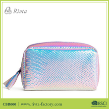 makeup case private label bag women shiny pu iridescent cosmetic bag holographic cosmetic case with tassel