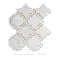 factory supply waterjet white marble mix glass arabesque bathroom tile design