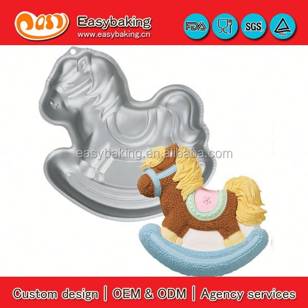 Wholesale Custom wooden horse aluminum mold cookie cutter metal cake pan for cake decorating