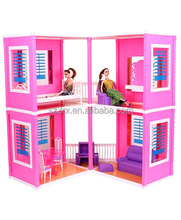 Custom 3D villa doll house/best quality kids Toys/High Quality plastic doll house for Children toys