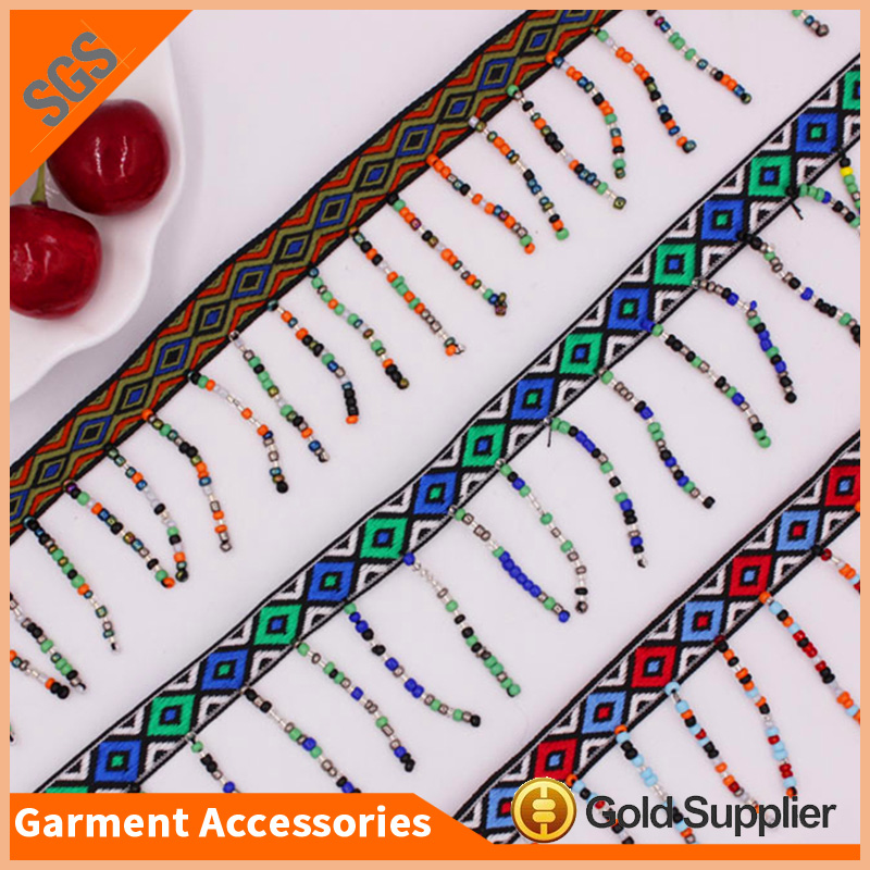 fashion handmade applique lace trim with colorful mini beads
