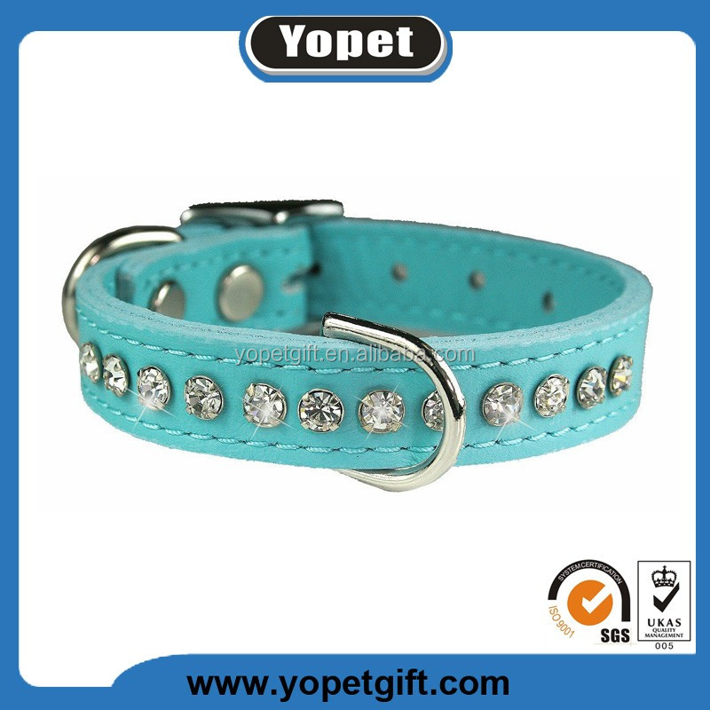 New Fashion Crystal Thin Leather Pet Dog Collars With Diamond,Metal Buckle Wholesale