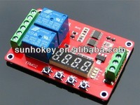 FRM02 2 Channel Time Delay Multifunction Relay Module Self-locking Circulation Relay Module