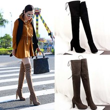 SAA2225 Mature women boot fashion sexy suede thick heel ladies over knee boots