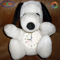 F274 Plush Snoopy Table Clocks Stuffed Cartoon Animal Shaped Alarm Clock