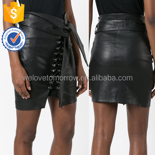 Black Leather Sexy Mental Buckles Big Tie Cool Summer Skirts For Ladies Manufacture Wholesale Fashion Women Apparel (TE0206k)