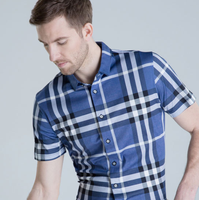 MS80003A 2016 Summer mens short sleeve pure mercerized cotton plaid shirt
