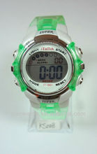 2013 New fashion fluorescence color digital watch with alloy case and transparent strap