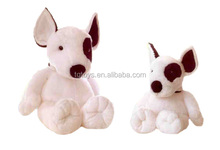 Cute cartoon style sitting postiion a pair of big and small two size plush toys bulldogs