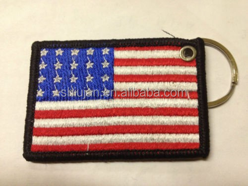 US AMERICAN FLAG EMBROIDERY KEYRING EMBROIDERED PATCH KEY CHAIN CHROME RINGS