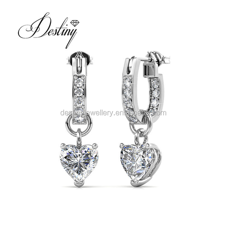 Destiny Jewellery wedding earrings crystals , Swarovski heart 2017 fashinon Earrings DE0377