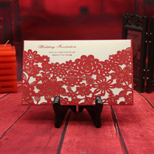 2016 Latest Design Red Color Pocket Laser Cut Wedding Invitation Card