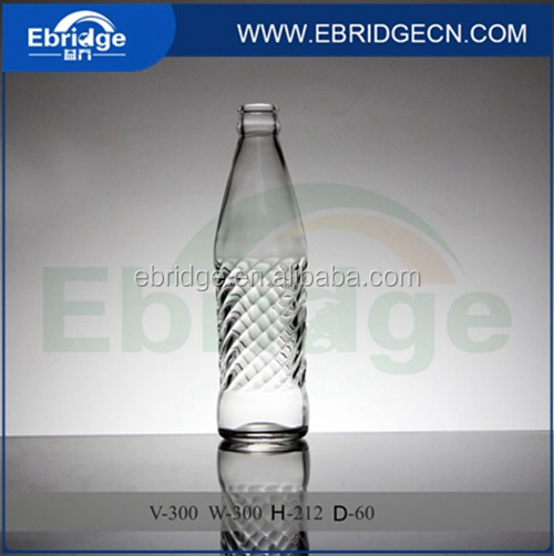 300ml clear transparent glass juice soda bottle