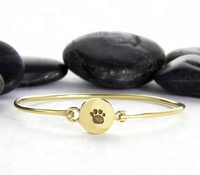 Dog Paw Stamped Pet Memorial Bracelet Bangle Jewelry