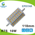 Hot selling aluminum AC85-265V 118mm 10w with 120 degree r7s led light