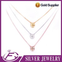 Elegant style quality aaa cz stone 925 sterling silver chain necklace