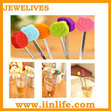 rose design novelty swizzle sticks for coffee and tea