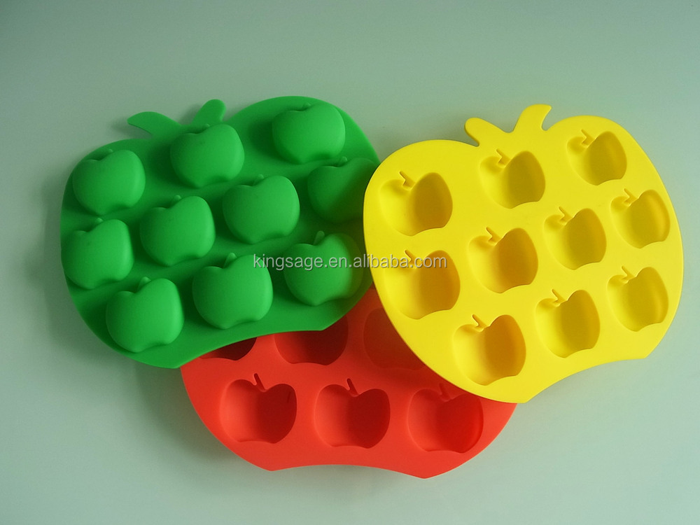 2015 Promotion Certificate Custom apple shape Silicone ice cube tray for ice make tool