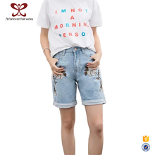 Light Blue Embroidery Girls Denim Jeans Shorts