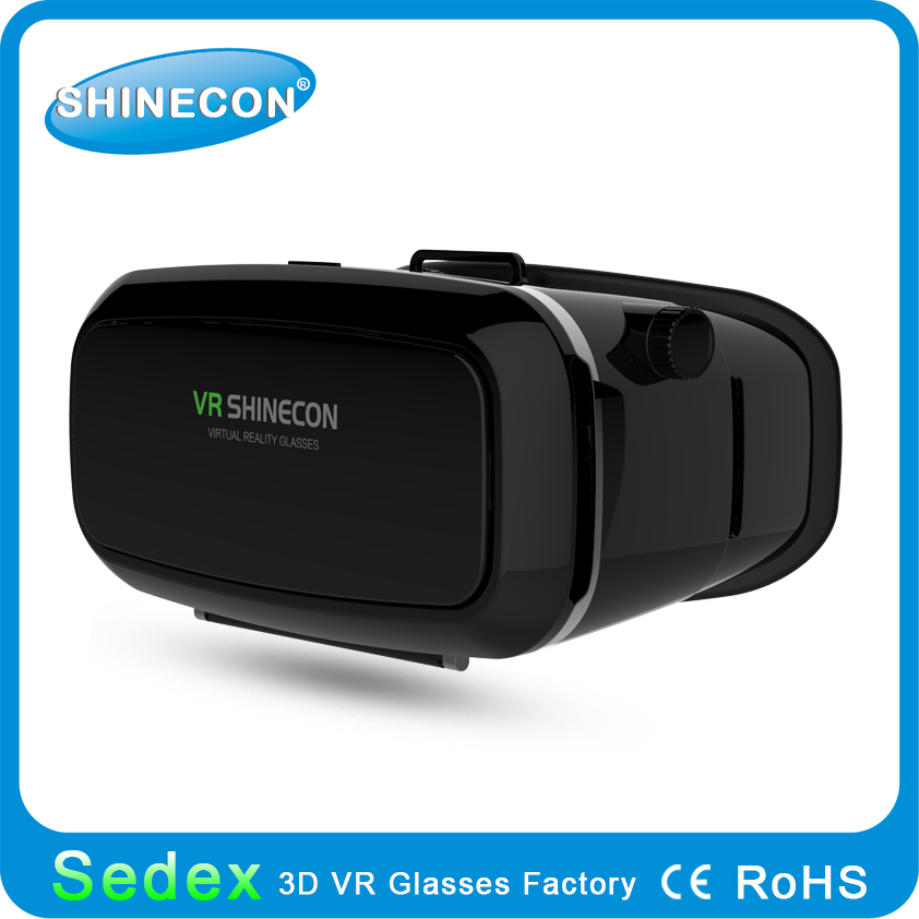 2017 Shinecon brand new super best 3D VR box virtual reality headset 3d movie games glasses, highest clarity no faint and dizzy