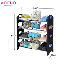 MAXECHO Portable Shoe Rack 4 Tier Shoe Tower, Adjustable Round-Shaped Free Standing Shoe Organizer ,20 Pairs Wall Bench Shelf