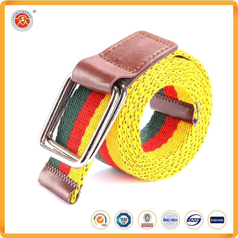 2016 polyester elastic stretch canvas belts causal elastic braided belts with double d-ring