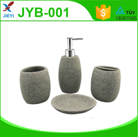 4pcs Concise Style Poly Stone Finish Durable Resin Bathroom Set