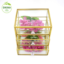 New Style multi-functional makeup cosmetics gold silver black storage Box brass glass fold albe transparent jewelry organizer
