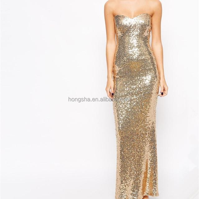 Wholesale Latest Fashion Design Lipstick Boutique Petite Strapless Sequin Maxi Dress for Women HSD7001