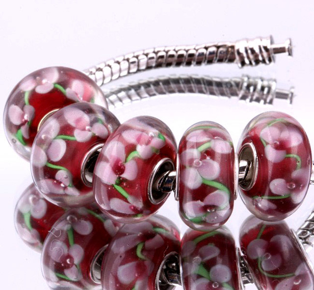 5PCS silver DIY thread Murano Glass Beads Charms fit Europe pandora Bracelets necklaces  /extanpaa flfaocma F289