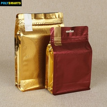 Moisture proof mylar stand up plastic gusset pouch bag with internal foil zipper top flat bottom packaging bag