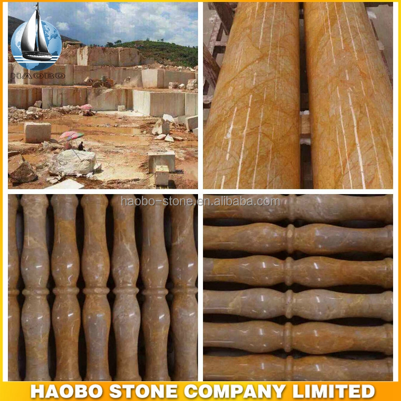 Golden Travertine Marble Pillar and Baluster, Marble Column and Baluster for Sales