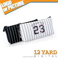 Black and white football sport pencil case striped with number printing for football lovers and school students