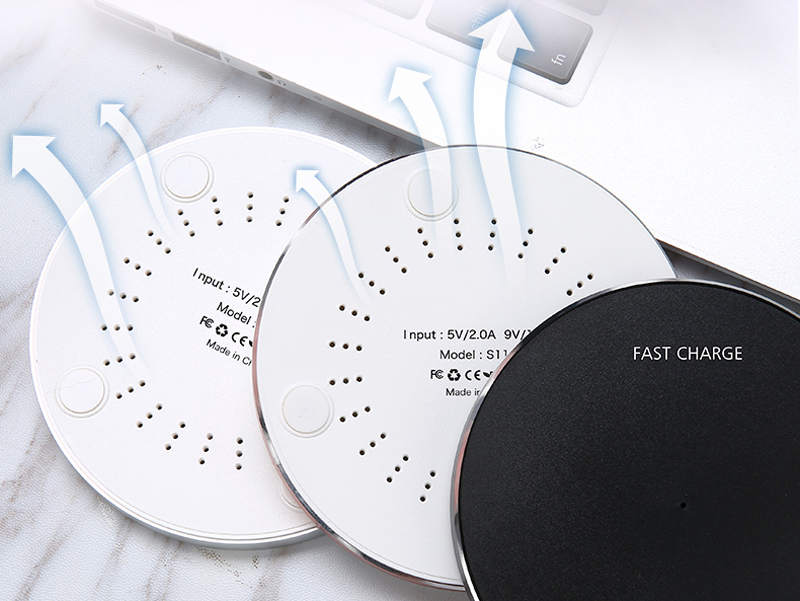 Factory Wholesales round metal 10W qi mirror cell phone charging pad fast wireless charger