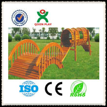 Solid Wood kid playground games/garden play equipment for kids/outside drilling game/QX-11059A