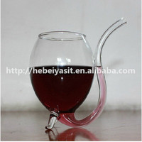 Wholesale 300ML Yasit red wine glass cup with drinking tube straw