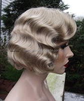 Stock Top Beauty 14 Inch 100% Human Hair Brazilian Remy Hair Finger Wave Wig