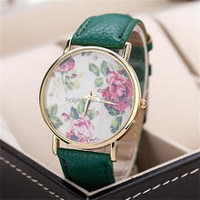 2015 new style china watch, vogue grace rose printed leather china watch