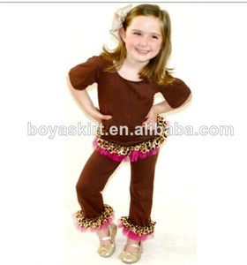baby girls cotton outfits half sleeve brown with ruffle top brown with ruffle pants baby cotton outfits kids outfits