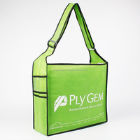 Custumized Green Non Woven Side Pocket Walking Shoulder Eco Shopping Bag