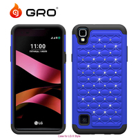 Factory Luxury Diamond Bling Silicone+PC Phone Case For LG X Style