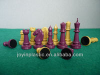 "2"" hollow plastic chess pieces with velvet on base ,high quality hollow plastic chess game/ international chess"