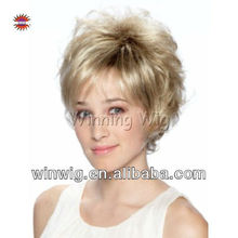 Fluffy Synthetic Light Blonde wigs Short Hair