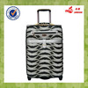 Fashionable Tiger Stripes PU Spinner Wheel Iron Trolley System Trolley Travel Bags
