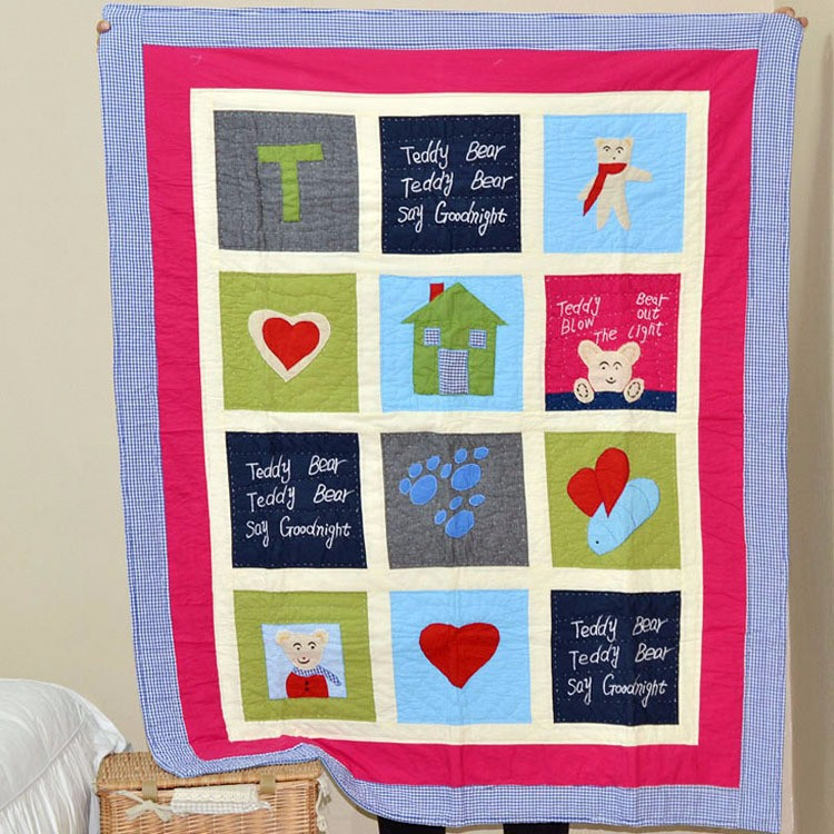 Cotton applique embroidery baby patchwork quilt